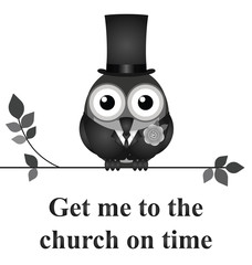 Get me to the church on time message