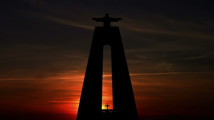 Sunrise and Statue of Christ the King. Time Lapse