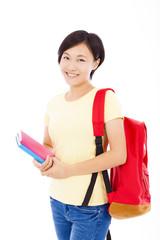 full length beautiful university student girl standing