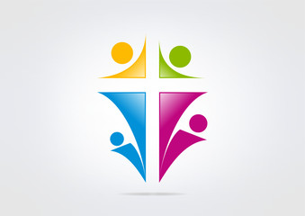 religious logo  abstract human cross church center