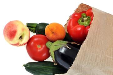 Un sac de fruits et légumes