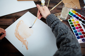 Drawing in water-colors