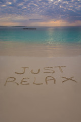 Just Relax sign in Nungwi north of Zanzibar island.Tanzania.