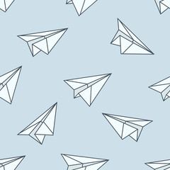 Paper planes seamless pattern