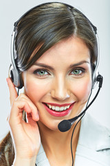 Customer support operator. Woman face.Call center smiling opera