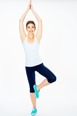 fitness woman dooing gym exercise.