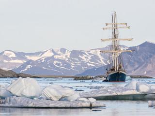 Big yacht in the Arctic fjord - Spitsbergen, Svalbard
