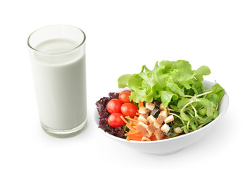 Salad with Milk on White background