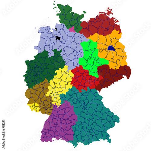 canvas print picture Deutschland mit Landkreisen