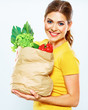 Healthy lifestyle with green vegan food. Young woman green diet