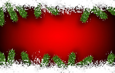 Fir and snow christmas frame.