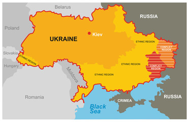 A divided Ukraine - the conflict region