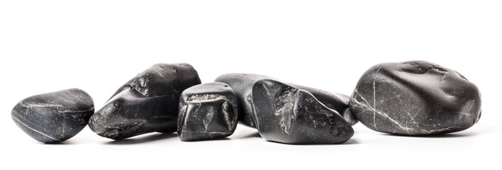 Black stones isolated on white background
