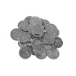Pile of various Latvian coins