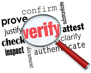 Verify Word Magnifying Glass Certify Prove Check Inspect