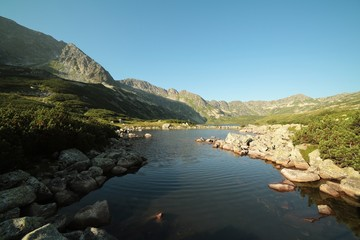 Valley of five ponds in the Polish Tatras at dawn