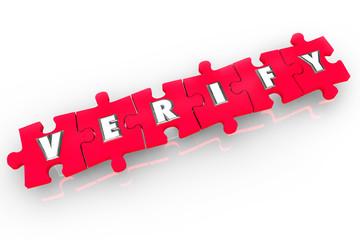 Verify 3d Word Puzzle Pieces Confirm Inspect Prove