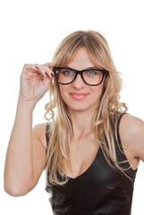 woman wearing black generic glasses