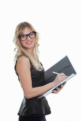 smart business woman with pen and file.