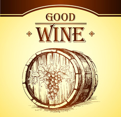 Wine cask . labels for wine with grapes. Barrel. Ceg