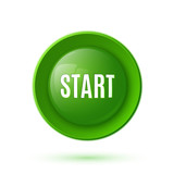Green glossy start button icon poster