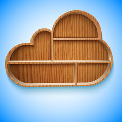 Cloud wood shelves and shelf design on wall,  illustration