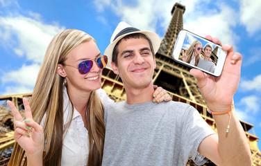 Self-portrait of a romantic travel couple