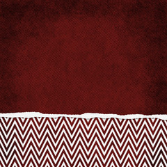 Square Red and White Zigzag Chevron Torn Grunge Textured Backgro
