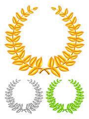 Golden, silver and green laurel wreaths.