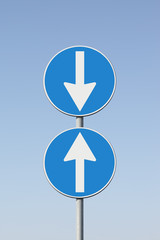 Road signs that point out a contradiction - concept image