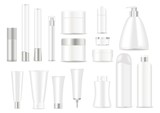 Blank cosmetic tubes. White and silver colors