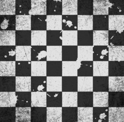vintage crack old scratched empty chess board. abstract grunge