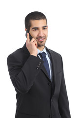 Young happy arab business man on the mobile phone