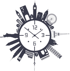 Travel clock in black and white