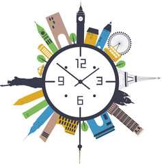 Travel clock. Vector