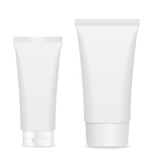 wo black cosmetic tubes isolated on white.