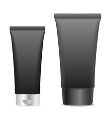 Two black cosmetic tubes isolated on white.