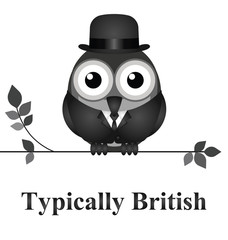 Comical bird typically British message