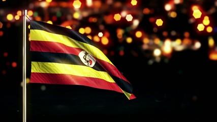 Uganda National Flag City Light Night Bokeh Loop Animation