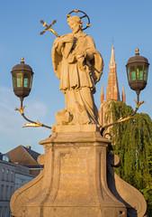 Bruges - The st. John the Nepomuk statue on the bridge