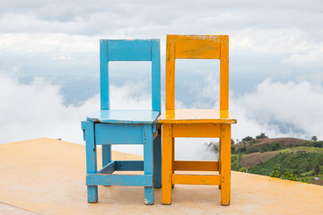 Yellow blue chairs