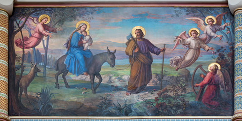 Vienna - Flight of holy family to Egypt in Carmelites church