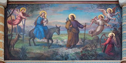 Foto op Plexiglas Wenen Vienna - Flight of holy family to Egypt in Carmelites church