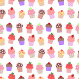 Seamless vector background with colorful cupcakes