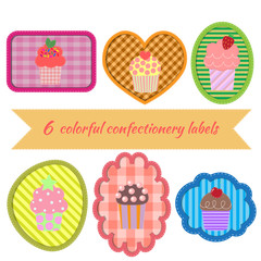 Set of multicolored confectionery label