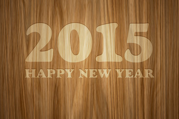 wood engraved 2015 Happy New Year