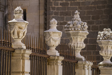 facade of the Cathedral of Toledo, Spain