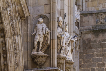 church, facade of the Cathedral of Toledo, Spain