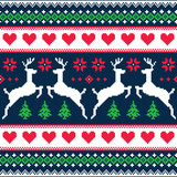 Winter, Christmas seamless pixelated pattern with deer - 69124440