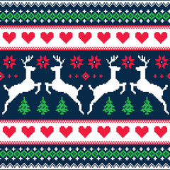 Winter, Christmas seamless pixelated pattern with deer